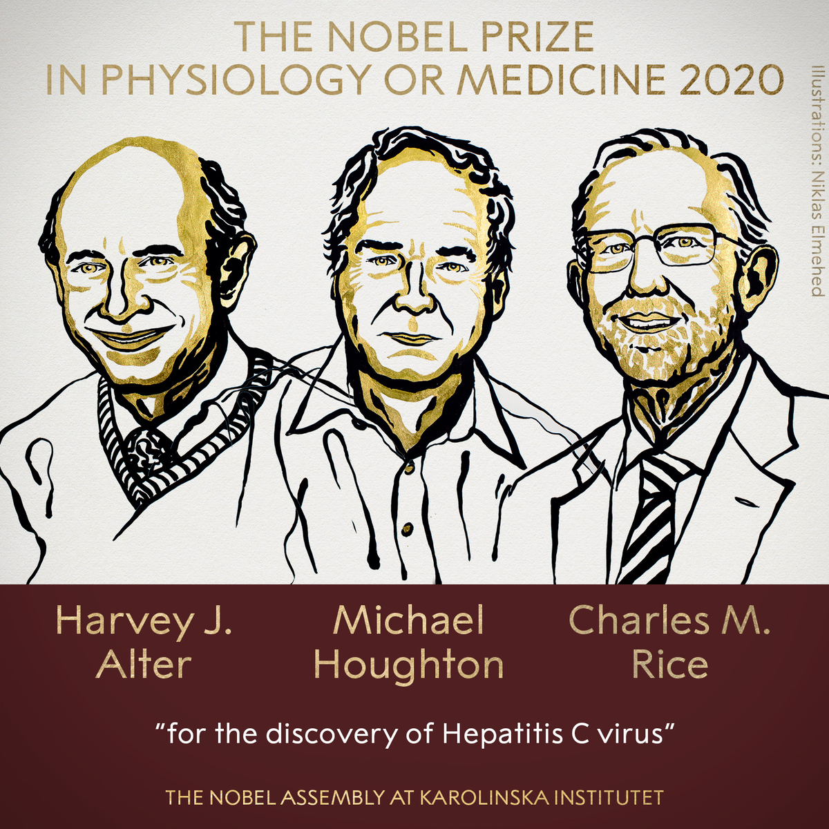 "<a href=""https://www.nobelprize.org/prizes/medicine/2020/summary/"">The 2020 Nobel Prize in Physiology or Medicine has been awarded jointly to Harvey J. Alter, Michael Houghton and Charles M. Rice for the discovery of Hepatitis C virus.</a><P>"