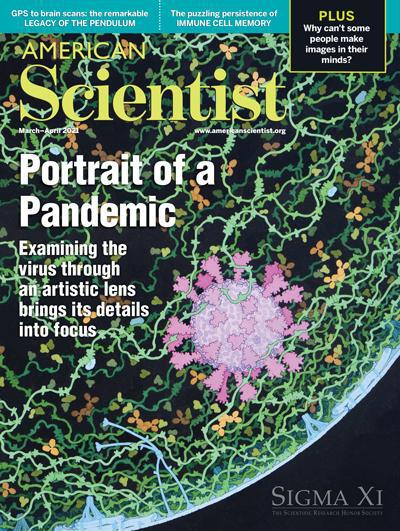 "<a href=""https://www.americanscientist.org/magazine/issues/2021/march-april""><I>Painting of a portrait of SARS-CoV-2</I> March-April, 2021</a>"