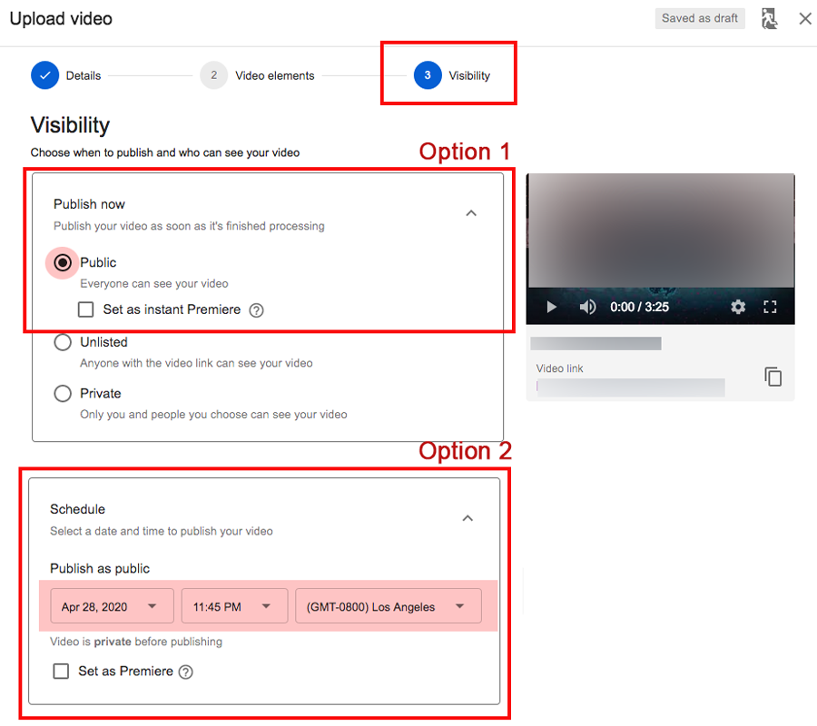 YouTube settings for publication date and status