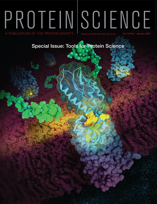 GLP-1 receptor and GLP-1 analog illustration on the cover of Protein Science