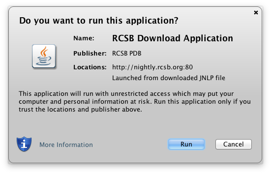 RCSB Download Application file chooser